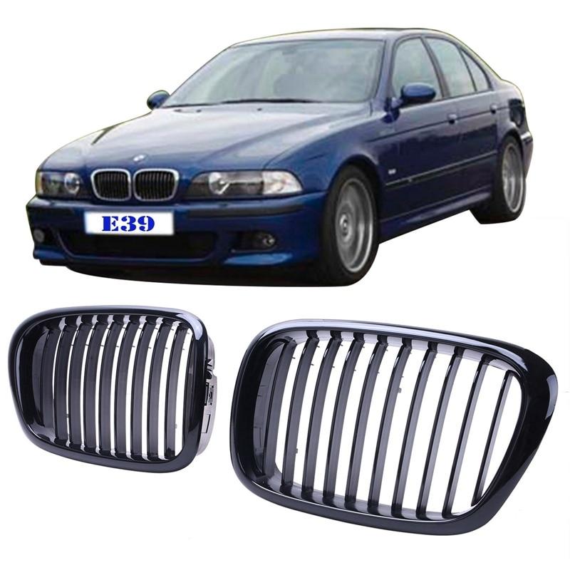 2 pièces Voiture Calandre Rein Gril Pour BMW E39 525i 528i 530i 535i 540i M5 1997-2003 Noir brillant Extérieurs De Voiture Accessoire # P215