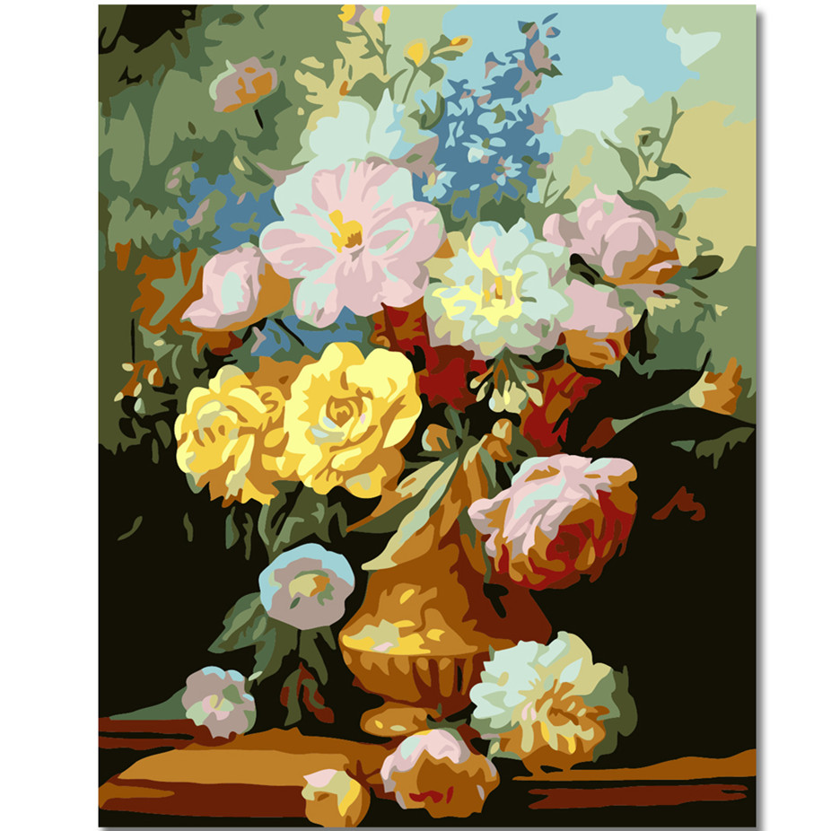 WEEN Peony Flower-DIY Painting By Numbers Kit, Framed Paint on Canvas, Modern Wall Art Picture, Acrylic 40x50cm