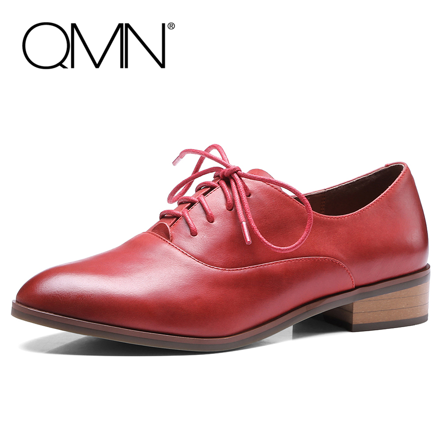 QMN women brushed glossed leather brogue shoes Women Pointed Toe Oxfords Lace Up Casual Shoes Woman Genuine Leather Flats qmn women brushed leather platform brogue shoes women round toe lace up oxfords flat casual shoes woman genuine leather flats