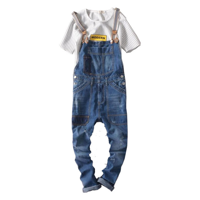 da881a616c19 2017 New Brand Casual Denim Overalls Blue Ripped Jeans Pockets Men s Bib  Jeans Boyfriend Jeans Jumpsuits