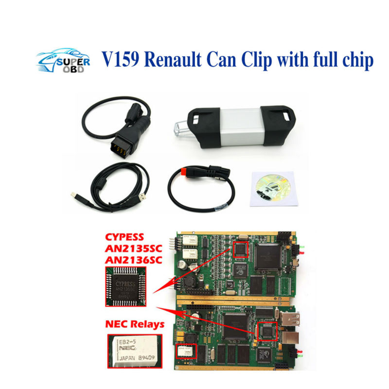 Best quality Can Clip for Renault With Full Chip V160 & CYPRESS AN2135SC OR AN2136SC Chips renault can clip full chip in stock