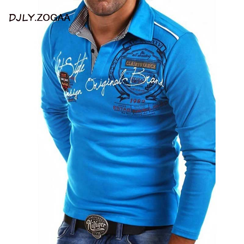 ZOGAA   Polo   Shirts Men Fashion Long Sleeve   Polo   Shirt Male Casual Letter Printed Slim Fit Shirt   Polos   4XL Para Hombre
