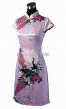 Shanghai Story fashionable peacock printing knee dress cheongsam short sleeve chinese dress Qipao pink D0021