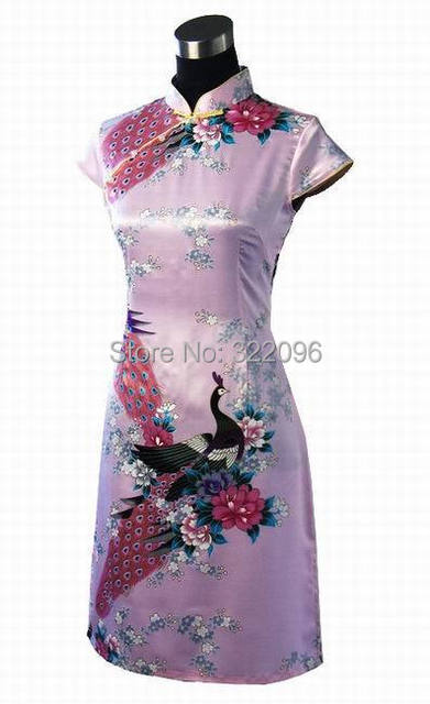 Shanghai Story fashionable peacock printing knee dress cheongsam short sleeve chinese dress Qipao pink D0021