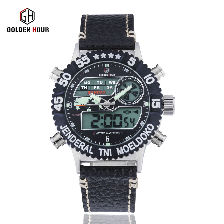 GOLDENHOUR Men Military Sports Outdoor Watches Fashion Quartz Digital Sport Nylon Strap Male Clock Style Watch Relogio Masculino binger nylon strap watch hot sale men watch unisex hour sports military quartz wristwatch de marca fashion female male relojes