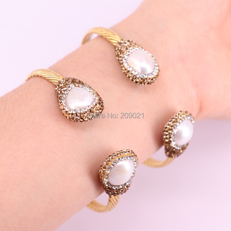 5Pcs Natural Freshwater Pearl With Golden rhinestone Paved gold metal cuff bangle jewelry For Women