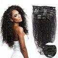 Full Head Clip In Human Hair Extensions 7PCS/10PCS 70G/120G/220G Afro Kinky Curly Clip In Hair Extensions Virgin Hair Clip In 1B