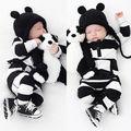 Lindo macacão Infantes Bebés Meninos Roupas Manga Comprida Listrada Bolso Macacão Outfits Outono 0-3Y