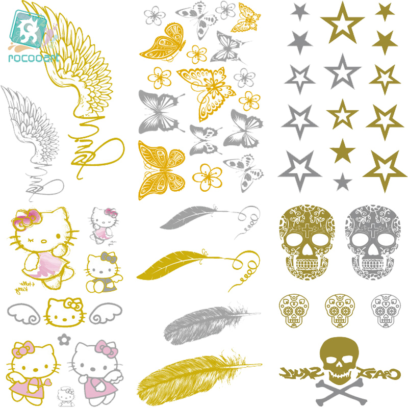 Rocooart VH1 2018 Classical Waterproof Tattoo Golden Gold Butterfly Feather Christmas Glitter Metallic Temporary Tattoo Stickers