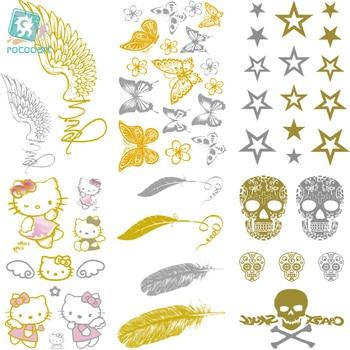 Rocooart VH1 2018 Classical Waterproof Tattoo Golden Gold Butterfly Feather Christmas Glitter Metallic Temporary Tattoo Stickers набор fluorescent glitter tattoo 8