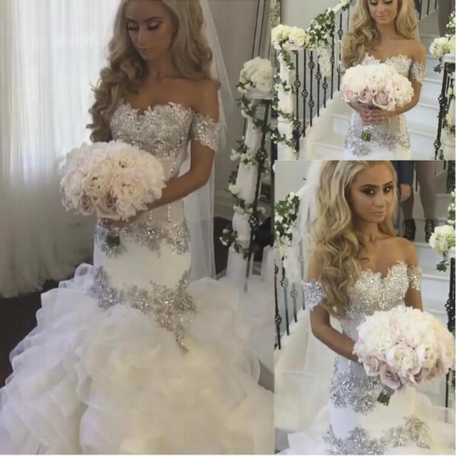 Saudi Arabia Bridal Gowns Sweetheart Neckline Lace Appliques Crystal ...