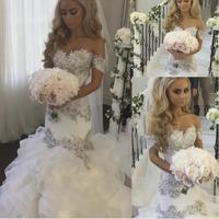 Saudi Arabia Bridal Gowns Sweetheart Neckline Lace Appliques Crystal Beading Tiered Mermaid Wedding Dresses Arabic