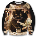 Hoodies for men/women 3d sweatshirt funny print big dollars cat and golden flowers hoodies autumn tops
