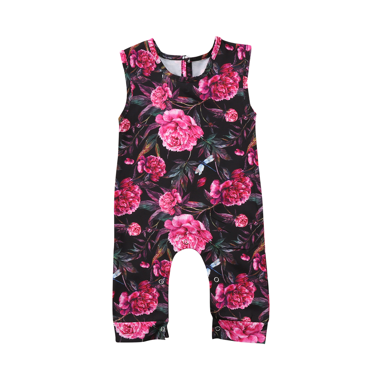 Soft New Arrival Cotton Newborn Kids Baby Girl Floral Sleeveless Floral Romper Playsuit Clothes Outfit 6M-3T