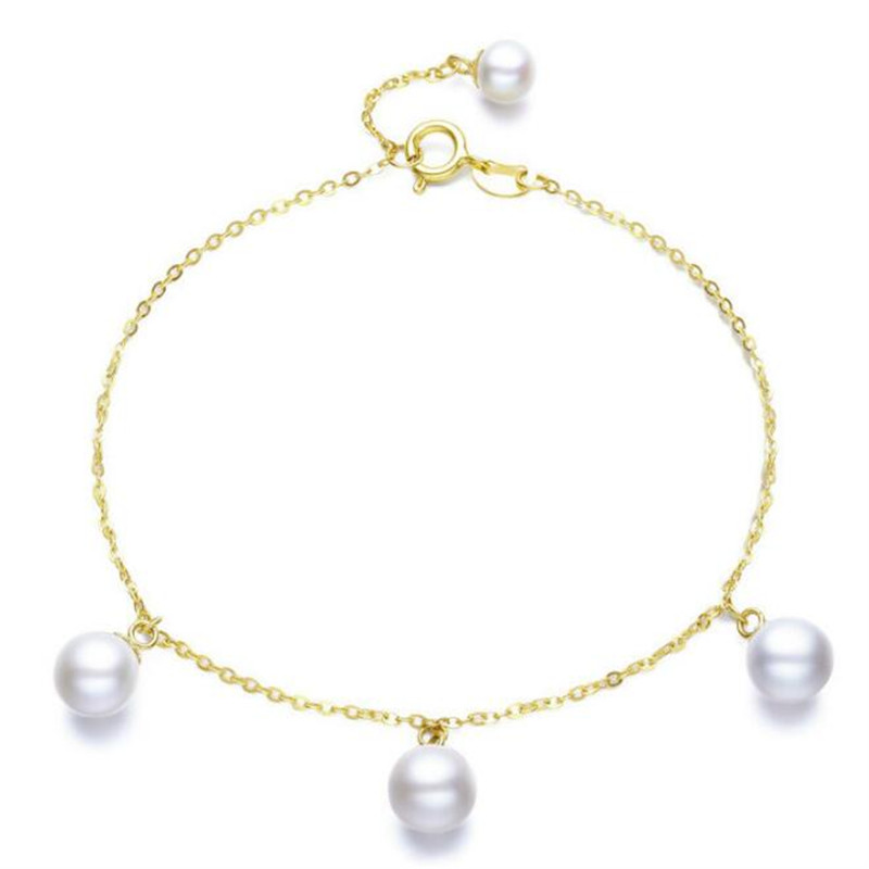 все цены на 2018 18K Yellow Gold Natural Cultured Freshwater Pearl Bracelet Wholesale Real Pearl Gold Bracelet For Women Party Jewelry онлайн