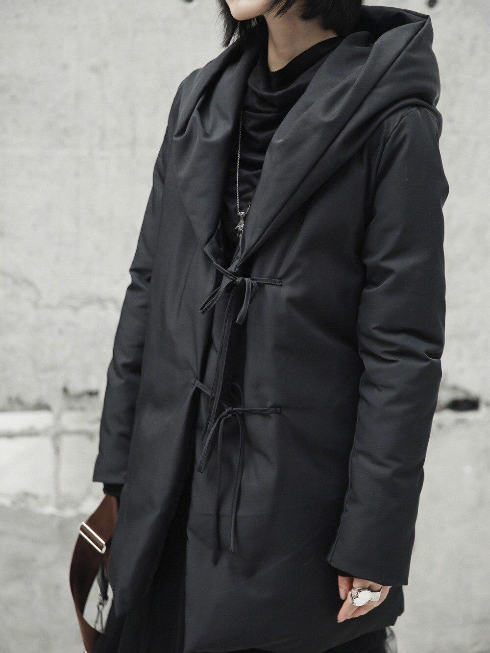 Design Mince Coton Veste Chaud D'hiver Minimaliste Manteaux Mi Longue Lâche Femmle Noir Rembourré Cakucool Capuchon up Parka À Dentelle Outwear RtwPn