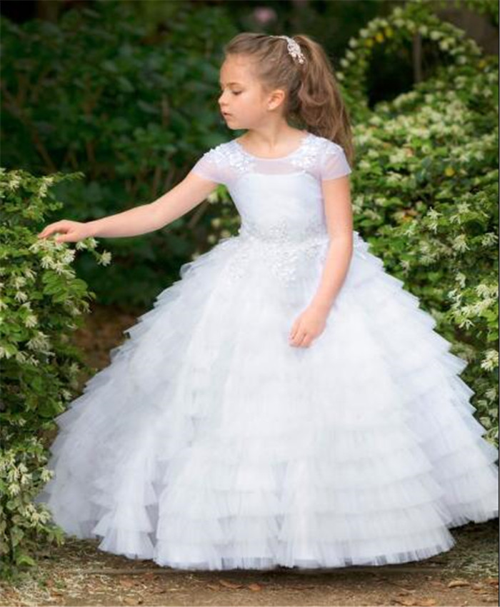 Well-Designed   Flower     Girls     Dress   For Baptism Tiered Tulle Lace Ball Gown Customized For 2-14 Y Teens Holy First Communion Gown