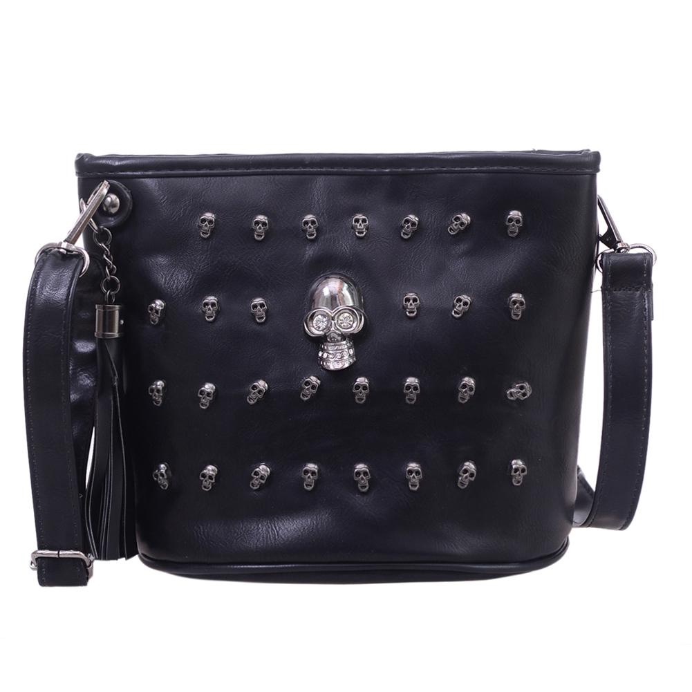 Skull Design Women Messenger Bags Handbags Shoulder Bags Satchel Clutch Girl Black Skull Crossbody Bag Bolsas Borse Feminina 1