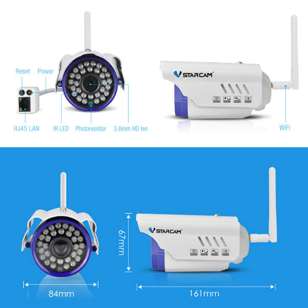 Vstarcam Outdoor WiFi Camera 1 0MP Megapixel HD CCTV Wireless Bullet IP  Camera Surveillance Security System Home C7815WIP