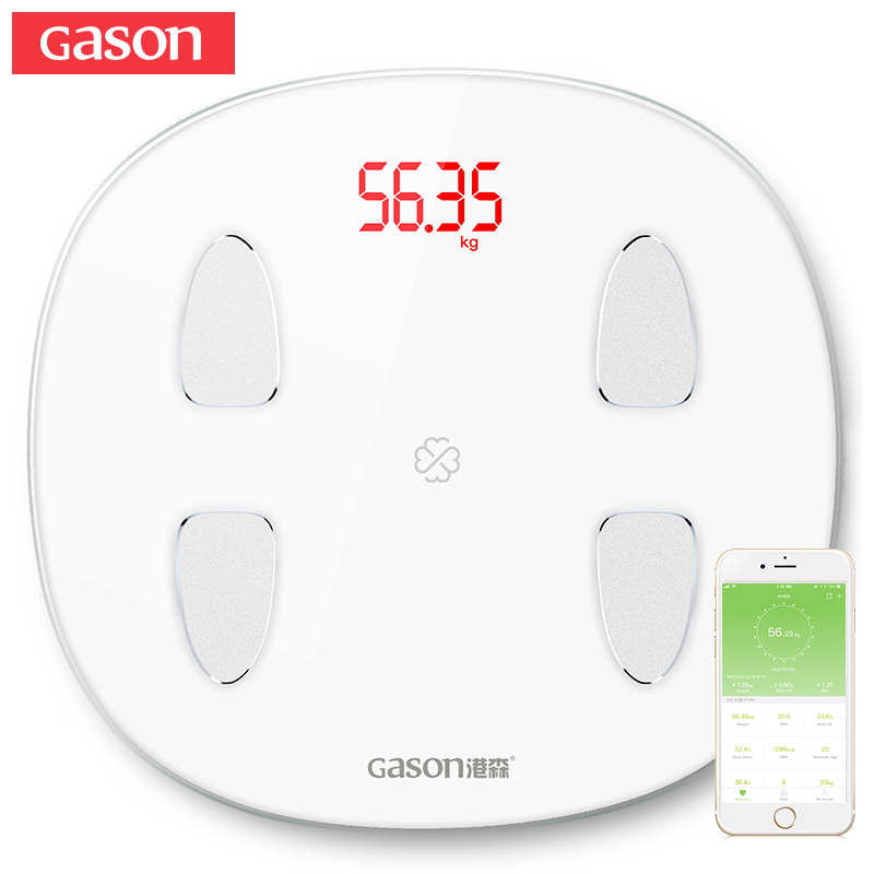 GASON S6 Smart Body Fat Scales Floor Electronic LED Digital Weight Bathroom Composition Monitor Bluetooth 4.0 APP Android or IOS