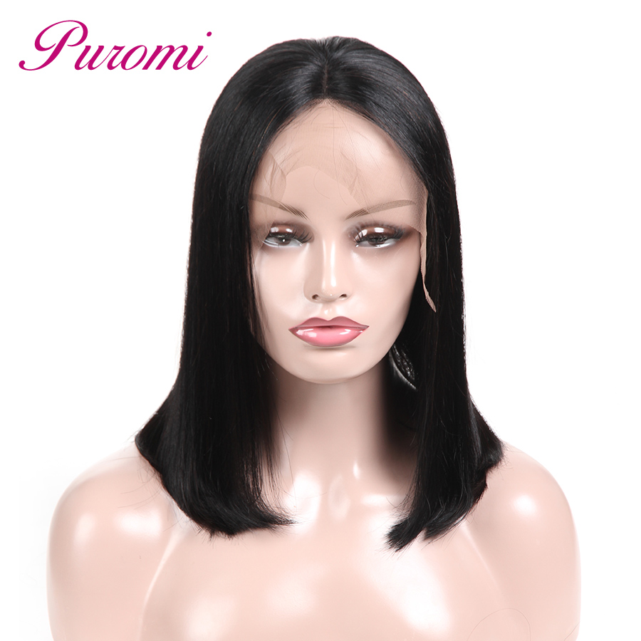 Puromi Brazilian Straight Lace Front Human Hair Wigs Pre Plucked With Baby Hair Glueless ...