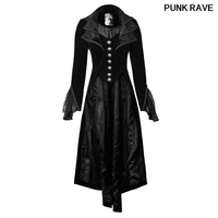 Gothic Woman Velvet Jacquard Full Sleeve Cascade Collar Coat Tail Lace Black Vintage Long Jacket Halloween Party PUNK RAVE Y 658