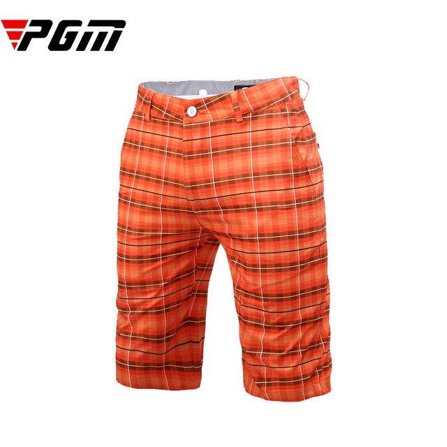 2f05eb07552b Brand quality Men s Shorts Plaid Polyester elastic Golf Shorts LOGO Men  Breathable Comfortable Breeches black orange
