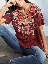New womens short-sleeved embroidered shirt round neck T-shirt  women