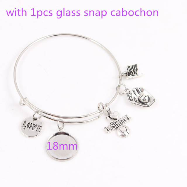 I Love Sports Charms Bracelet Adjule Expandable Wire Bangle Fit Baseball Team Logo Snap Cabochon