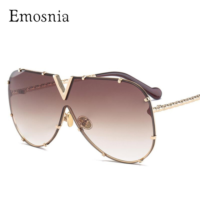 ce86b26dbf Emosnia Luxury Rivet Pilot Sunglasses Women Men 2018 New Oversized One  Piece Brand Sunglass Metal Big