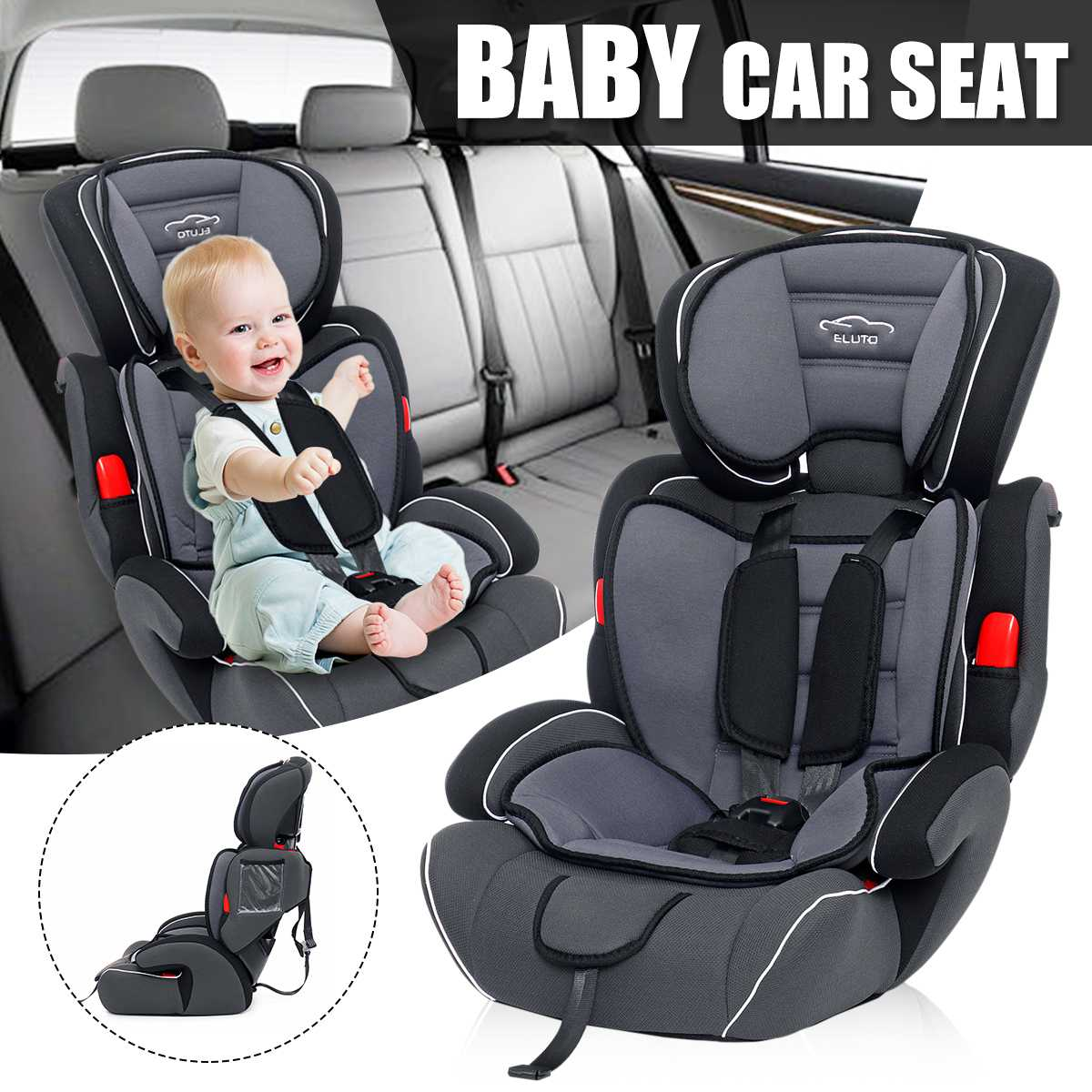 Kids  Car Safety Baby Seat Safety Seats for Armchair 9-36KG Group 1/2/3 Five-Point Harness Baby Booster Seats 9months-12yearsKids  Car Safety Baby Seat Safety Seats for Armchair 9-36KG Group 1/2/3 Five-Point Harness Baby Booster Seats 9months-12years