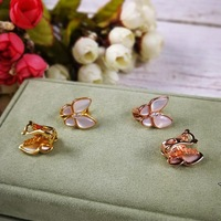 Top Quality Original Hot Brand Butterfly Ear Clip Women 100% Pure Sterling Silver 925 Set Natural Mother Pearl Clip Earring Gift