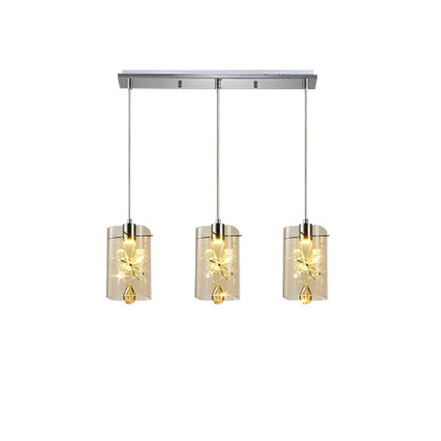Modern led 3 heads glass shade hanging light creative champagne modern led 3 heads glass shade hanging light creative champagne crystal pendant lamp bar aisle stairs mozeypictures Gallery