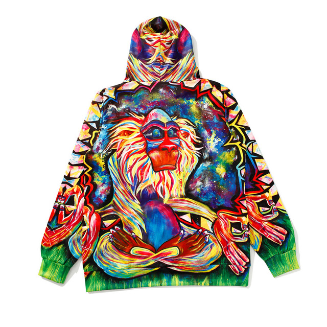 Buddha Monkey Hoodies Men Women Long Sleeve Loose Hooded Sweatshirt Pullover