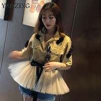 Summer Casual Beading Patchwork Mesh Hem Women Shirt Laple Half Sleeve Lace Up Bow Button Pockets Female Top Clothing E237