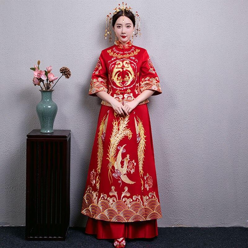 100% Waar Elegante Vrouwelijke Suzhou Borduurwerk Phoenix Cheongsam Vintage Huwelijk Pak Nobele Bruid Bruiloft Avond Party Dress Gown S-xxl Duidelijk Effect