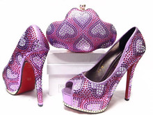 Hot selling Italian shoes and matching bag sets with rhinestones, African Fashion women shoes and bag lilac Color Size:38-42