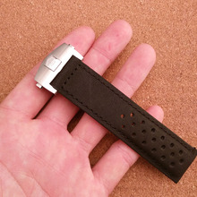New Promotion Brand Soft Genuine leather watchband Black no grain starps folding buckle 22mm watch accessories