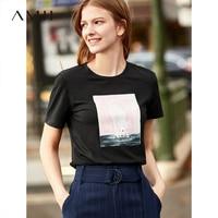 Amii Minimalist O Neck T Shirt Women New 2019 Spring Summer Loose O Neck Printed Cotton Short Sleeve Female Tee Harajuku Shirt
