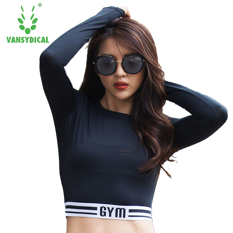 e5ed2b8335b Vansydical Women Sports Mesh Breathable Long Sleeve Yoga Shirt Fitness Gym  Running Training Short Style Undershirt Crop Tops