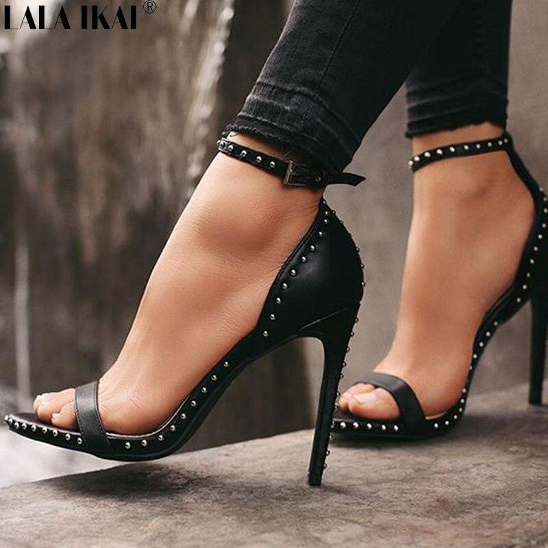 LALA IKAI נשים סנדלי קיץ טו פיפ עור מפוצל נעליים גבוהה עקבים סקסי מסמרת גבירותיי דק עקב גלדיאטור סנדלי XWC1845-45