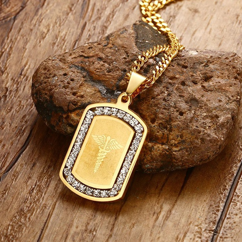 Vnox star of life necklace pendant gold color stainless steel vnox star of life necklace pendant gold color stainless steel medical jewelry with cz stone for women in pendant necklaces from jewelry accessories on aloadofball Images