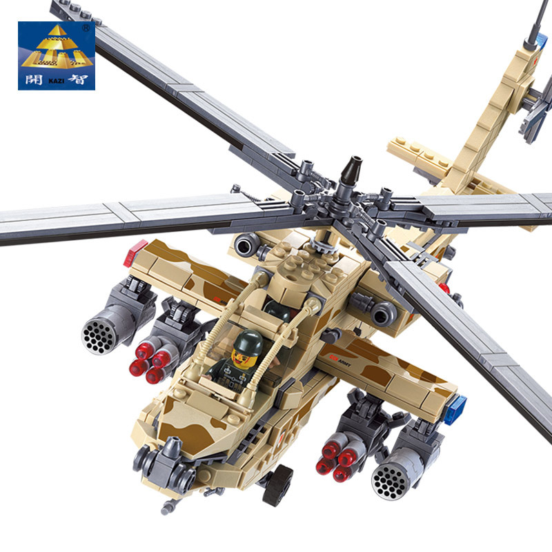 KAZI 84020 658Pcs Military Army Helicopter Building Blocks Sets AH-64 Apache Gunships With Sound Lights Kids Toys for children fov print 84208 us apache longbow helicopter gunships 1 48 alloy model fm