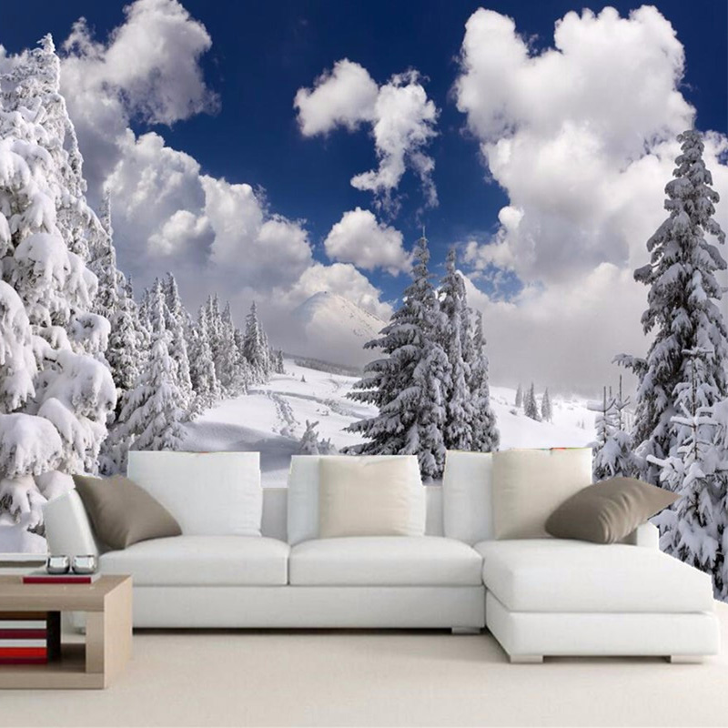 Custom Any Size Wall Cloth Modern Winter Snow Landscape Photo Wall Mural Living Room TV Sofa Backdrop Wallpaper Rolls Home Decor