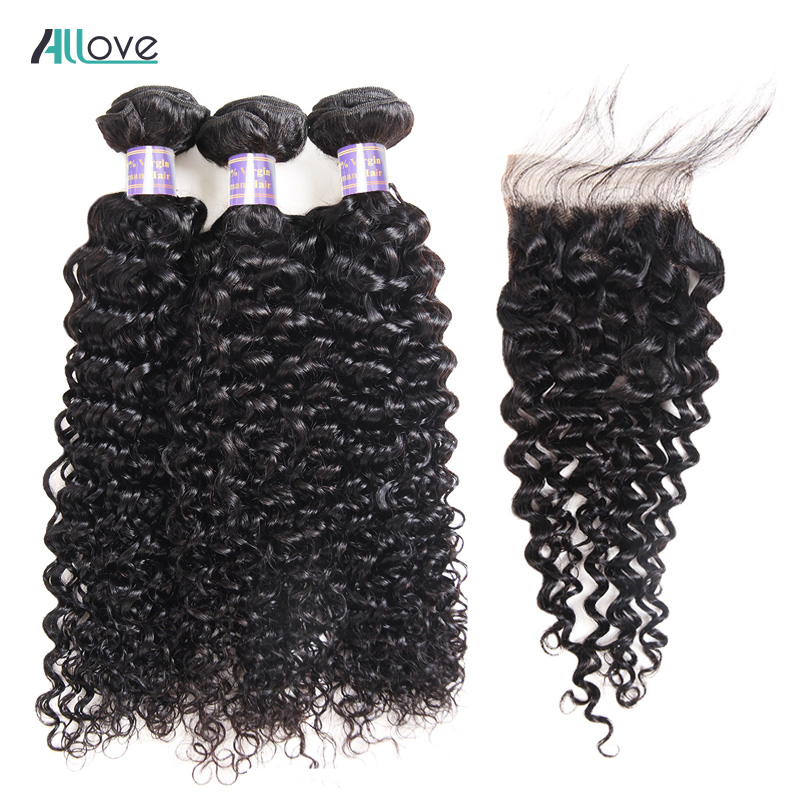 Allove Kinky Curly Hair 4PCS LOT Brazilian Hair Weave Bundles With Closure Middle Free Part Closure