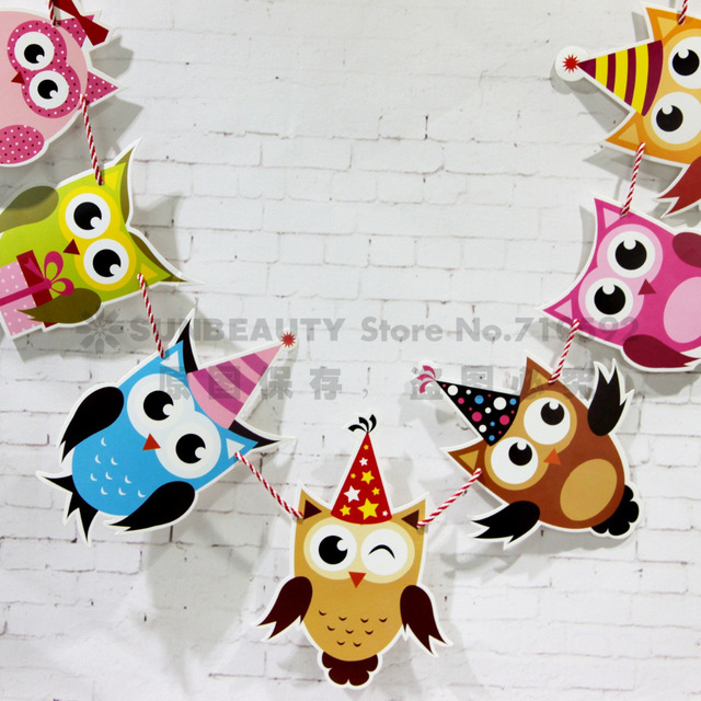 owl garland bird bunting nursery animal bunting kids bedroom decor