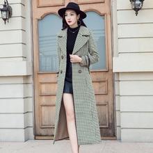 Korean Vintage Slim Plaid Wool Winter Long Casual Streetwear Coat Elegant Ladies