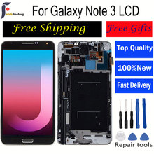 For SAMSUNG Galaxy Note 3 N9005 LCD  Display Touch Screen Digitizer for Galaxy note 3 lcd Frame Home Button 5.7 display N9005 newtop toughened glass screen protector for samsung galaxy note 3 n9000 n9005 transparent
