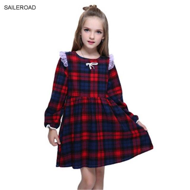 אביב סתיו משובץ בנות שמלה ארוך שרוולים ילדי ילדה בגדים מזדמן נסיכת שמלת ילדי ילדה בגדים פרחוני מפלגה שמלה