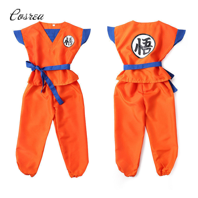 Anime Dragon Ball Z Son Goku Suit for Boy Baby Clothing Set Cosplay Costume Super Saiyan Clothing for Children Holloween Top